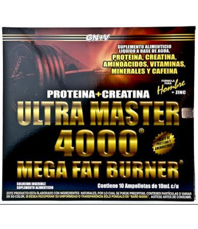 ULTRA MASTER 4000 MEGA FAT BURNER HOMBRE AMP 10 X 10 ML GN + VIDA